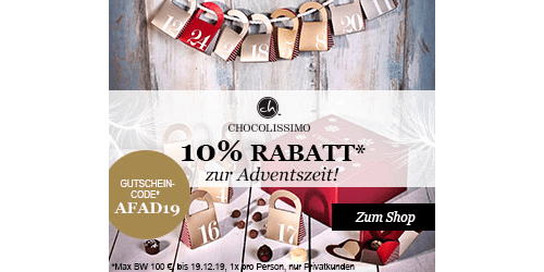Chocolissimo - 10% Rabatt zur Adventszeit